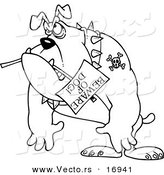 Vector of a Cartoon Bulldog Carrying a Beware of Dog Sign - Coloring Page Outline by Toonaday
