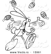 Vector of a Cartoon Bunny Juggling Easter Eggs - Outlined Coloring Page Drawing by Toonaday