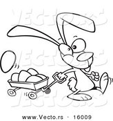 Vector of a Cartoon Bunny Pulling a Wagon of Easter Eggs - Outlined Coloring Page Drawing by Toonaday