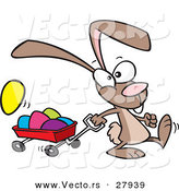 Vector of a Cartoon Bunny Rabbit Pulling a Red Wagon Full of Painted Easter Eggs by Toonaday