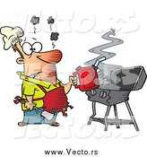 Vector of a Cartoon Burnt Man Using a Gas Can to Ignite His Bbq by Toonaday