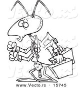 Vector of a Cartoon Business Ant - Outlined Coloring Page Drawing by Toonaday