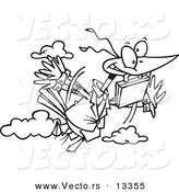 Vector of a Cartoon Business Bird Flying with a Briefcase - Coloring Page Outline by Toonaday
