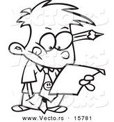 Vector of a Cartoon Business Boy Analyzing a Document - Outlined Coloring Page Drawing by Ron Leishman