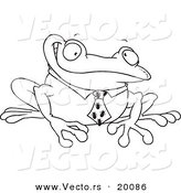 Vector of a Cartoon Business Frog with an Ant Tie - Outlined Coloring Page by Toonaday