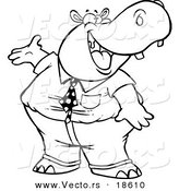 Vector of a Cartoon Business Hippo Presenting - Outlined Coloring Page by Toonaday