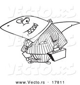 Vector of a Cartoon Business Land Shark - Outlined Coloring Page by Toonaday