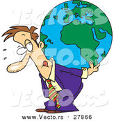 Vector of a Cartoon Business Man Carrying a Burden Globe on His Back by Ron Leishman