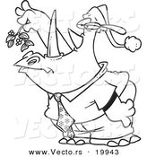Vector of a Cartoon Business Rhino Holding Mistletoe and Puckering - Outlined Coloring Page by Toonaday