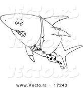 Vector of a Cartoon Business Shark in a Suit - Coloring Page Outline by Toonaday