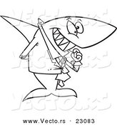 Vector of a Cartoon Business Shark Picking His Teeth - Coloring Page Outline by Toonaday