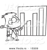 Vector of a Cartoon Businessboy Pointing to a Bar Graph - Coloring Page Outline by Toonaday