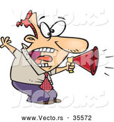 Vector of a Cartoon Businessman Aggressively Shouting in to a Megaphone by Toonaday