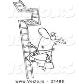 Vector of a Cartoon Businessman Climbing a Convoluted Ladder - Outlined Coloring Page by Toonaday