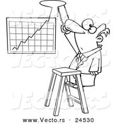 Vector of a Cartoon Businessman Cutting a Hole in the Ceiling for His Profit Chart - Outlined Coloring Page by Toonaday