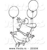 Vector of a Cartoon Businessman Floating Away with Balloons - Coloring Page Outline by Toonaday