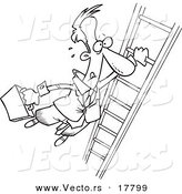 Vector of a Cartoon Businessman Holding onto a Ladder with One Hand - Outlined Coloring Page by Toonaday
