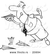 Vector of a Cartoon Businessman Playing with Paper Planes - Coloring Page Outline by Toonaday