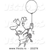 Vector of a Cartoon Businessman Rising into the Air While Holding a Helium Balloon - Coloring Page Outline by Toonaday