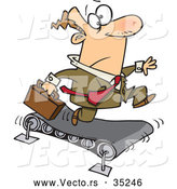 Vector of a Cartoon Businessman Running Fast on a Treadmill by Ron Leishman