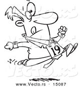 Vector of a Cartoon Businessman Running in the Office Olympics - Coloring Page Outline by Toonaday