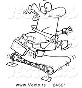 Vector of a Cartoon Businessman Running on a Treadmill Black and White Outline - Outlined Coloring Page by Toonaday
