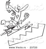 Vector of a Cartoon Businessman Running up Stairs - Coloring Page Outline by Toonaday