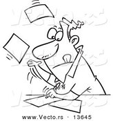 Vector of a Cartoon Businessman Speeding Through Paperwork - Coloring Page Outline by Ron Leishman