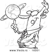 Vector of a Cartoon Businessman Spinning a Globe - Outlined Coloring Page Drawing by Toonaday