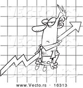 Vector of a Cartoon Businessman Stuck on an Upwards Graph - Outlined Coloring Page Drawing by Toonaday