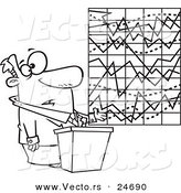 Vector of a Cartoon Businessman Trying to Explain a Messed up Chart - Outlined Coloring Page by Toonaday