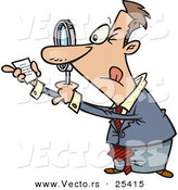 Vector of a Cartoon Businessman Using Magnifying Glass to Read Fine Print on a Tiny Legal Document by Ron Leishman