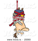 Vector of a Cartoon Businessman Wrapped with Red Tape Suspended from a Ceiling by Toonaday
