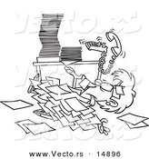 Vector of a Cartoon Businesswoman Buried Under Paperwork - Coloring Page Outline by Ron Leishman