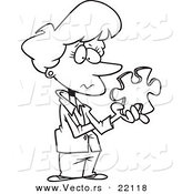 Vector of a Cartoon Businesswoman Holding a Puzzle Piece - Outlined Coloring Page by Toonaday