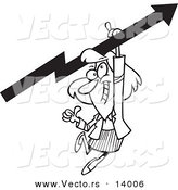 Vector of a Cartoon Businesswoman Holding a Thumb up and Hanging from an Upward Arrow - Coloring Page Outline by Toonaday