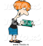 Vector of a Cartoon Businesswoman Holding Cash Money by Toonaday