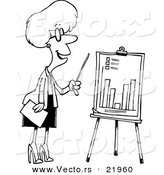Vector of a Cartoon Businesswoman Presenting a Bar Graph - Outlined Coloring Page by Toonaday