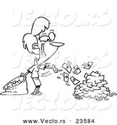Vector of a Cartoon Businesswoman Spending Cash - Coloring Page Outline by Toonaday