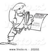 Vector of a Cartoon Businesswoman Using a Magnifying Glass to Read the Fine Print - Outlined Coloring Page by Toonaday