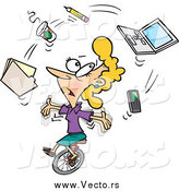 Vector of a Cartoon Busy Businesswoman Juggling Office Items on a Unicycle by Toonaday