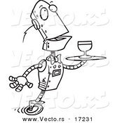 Vector of a Cartoon Butler Robot Serving Wine - Coloring Page Outline by Toonaday