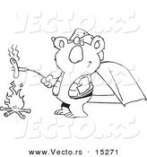 Vector of a Cartoon Camping Koala Roasting a Hot Dog over a Fire - Coloring Page Outline by Toonaday