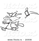 Vector of a Cartoon Can Flying at a Cat - Coloring Page Outline by Toonaday