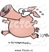 Vector of a Cartoon Carefree Pig Running by Ron Leishman