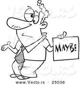 Vector of a Cartoon Careless Man Shrugging and Holding a Maybe Sign - Outlined Coloring Page by Toonaday