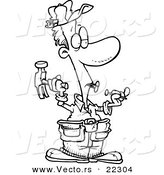 Vector of a Cartoon Carpenter Holding Nails in His Teeth - Coloring Page Outline by Toonaday