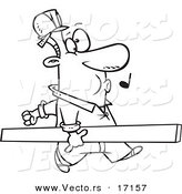 Vector of a Cartoon Carpenter Whistling and Carrying a Board - Coloring Page Outline by Toonaday