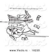 Vector of a Cartoon Cartoon Black and White Outline Design of Bullets Shooting at a Robber - Outlined Coloring Page Drawing by Ron Leishman