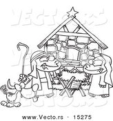 Vector of a Cartoon Cartoon Black and White Outline Design of Children Acting out a Nativity Scene - Coloring Page Outline by Toonaday
